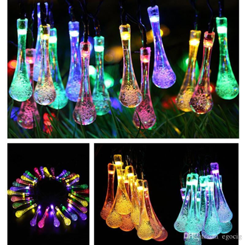 LED Gota de agua Energía solar Luz de Halloween Decoraciones navideñas 30 Luces Hogar Exterior Jardín Patio Fiesta Suministros de vacaciones