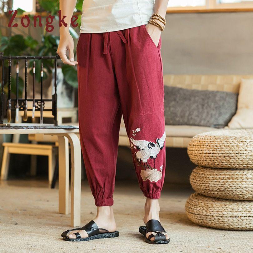 Commercio all'ingrosso cinese gru ricamo caviglia pantaloni da uomo pantaloni giapponese streetwear hip hop pantaloni uomo pantaloni uomo pantaloni 2019