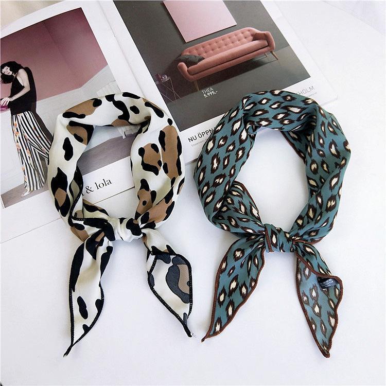 2018 Fashion Women Elegant Square Silk Feel Satin Leopard Scarf Skinny Retro Head Neck Hair Tie Band Scarves Headband women D19011106
