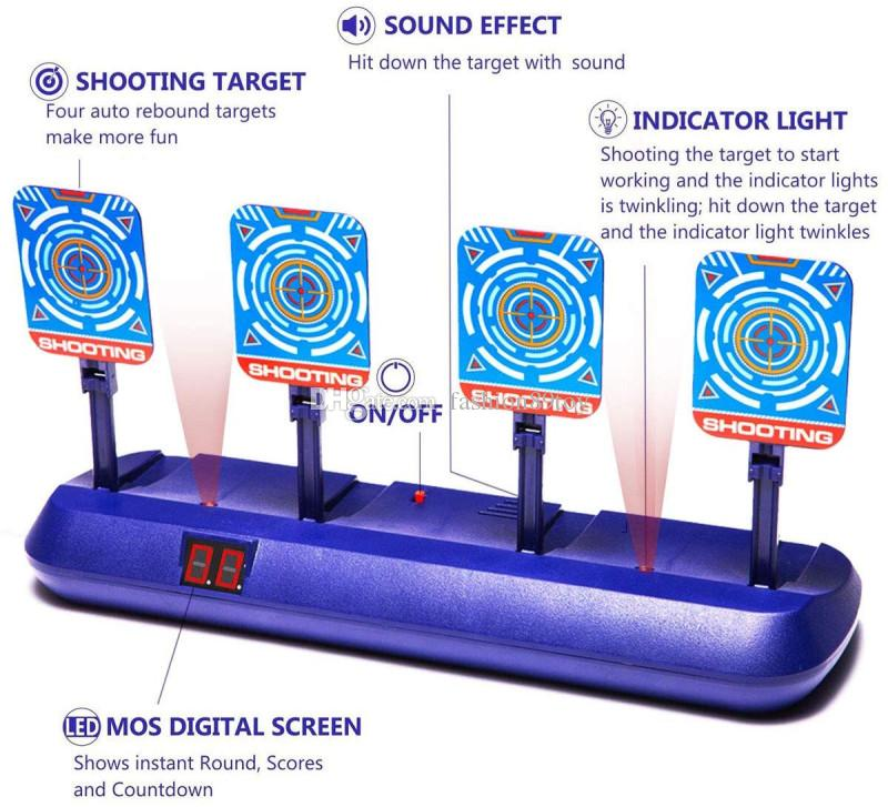 Electric Scoring Auto Reset Shooting Digital Target for Nerf Guns Blaste H0nD