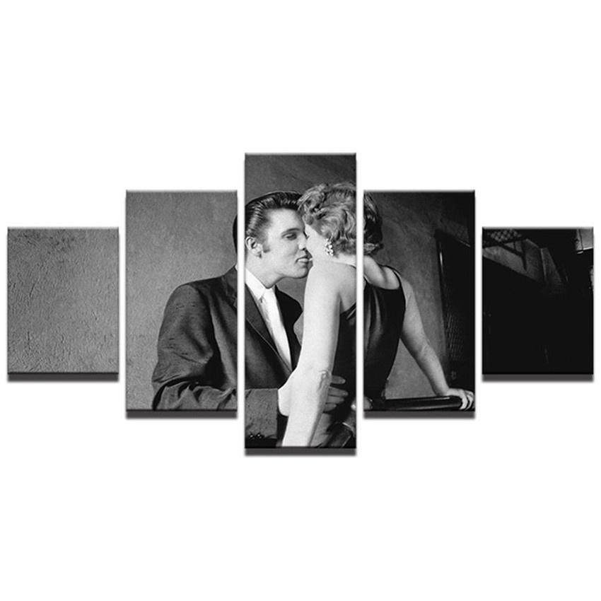 Elvis Presley Kisses Marilyn Monroe,5 Pieces Home Decor HD Printed Modern Art Painting on Canvas (Unframed/Framed)