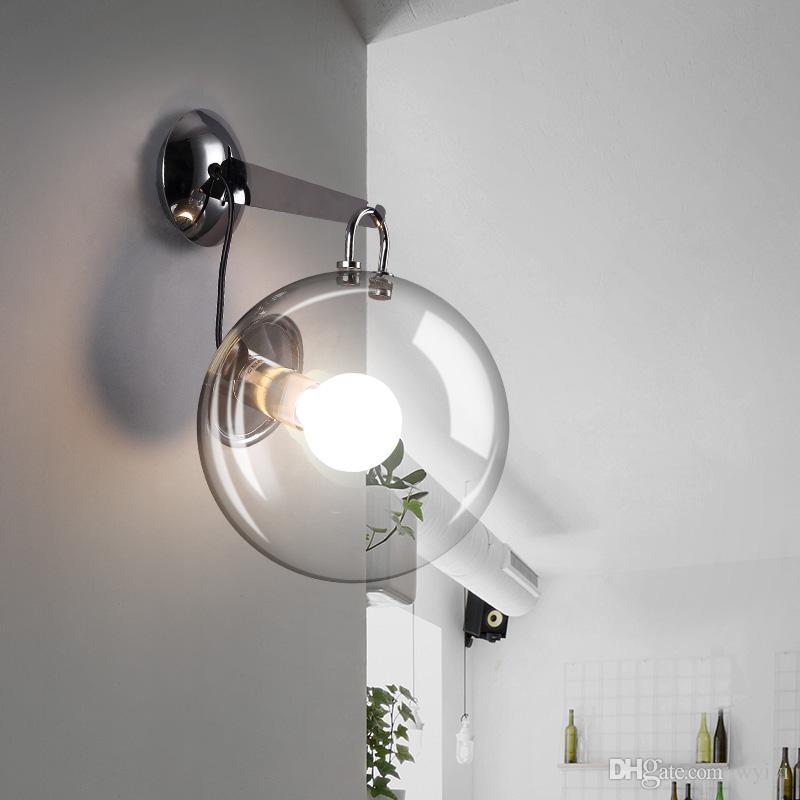 버블 유리 공 단철 벽 램프 간단한 현대 침대 옆 램프 LED 전구 파우치 식당 거실 통로 통로 크리 에이 티브 E27