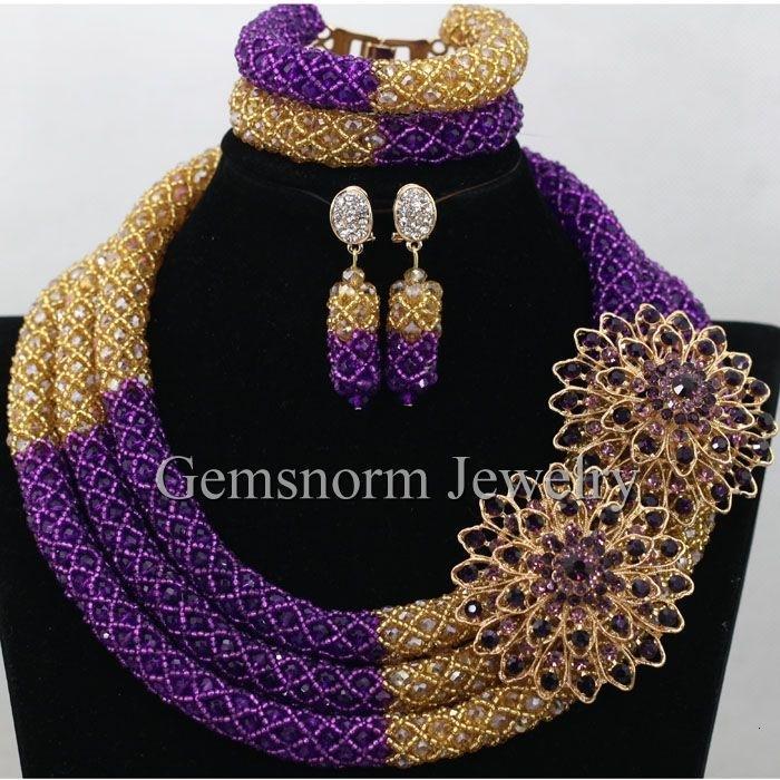 Magnifique or pourpre nigérien de mariée perles bijoux à la mode Set Costume Set africain bijoux indiens pour les femmes Livraison gratuite WA434 CJ191203