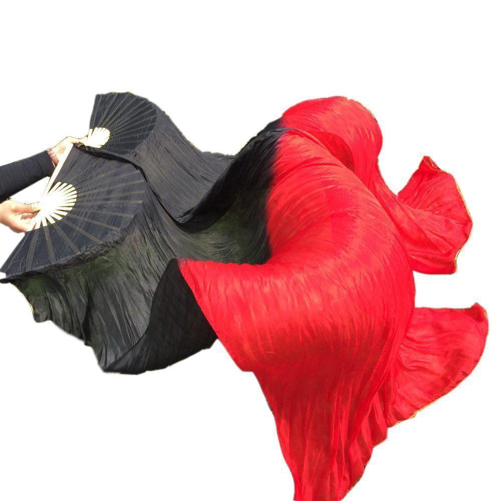 Velo di seta cinese di alta qualità al 100% Vero ventaglio di danza del ventre in seta reale Puntelli da ballo fatti a mano Nero Rosso