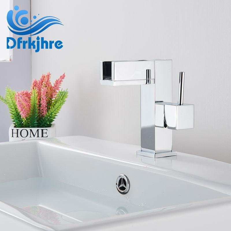 Basin Faucet Single Handle Deck Mount Waterfall Chrome Bathroom Faucet Sink Water Crane Silver Mixer Tap Cold And Hot Water Tap
