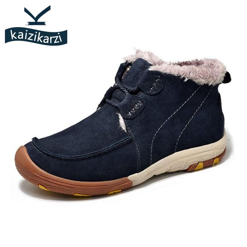KaiziKarzi Concisa Hombres espeso pelaje Botas clásicas atan para arriba Mantenga caliente tobillo de los zapatos botas de invierno al aire libre masculino Calzado Tamaño 38-44