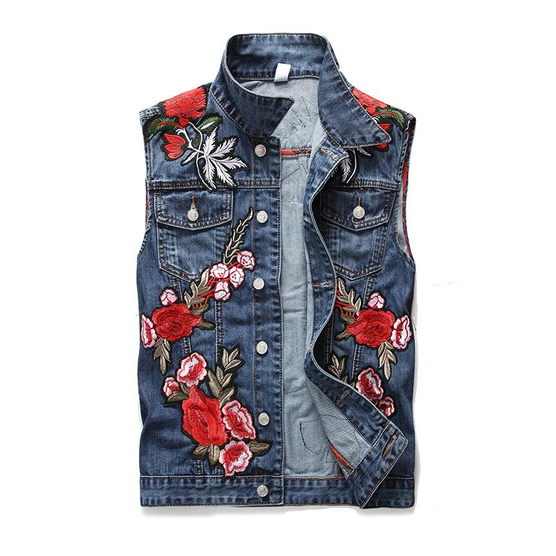 2020 Men's Denim Vests New Washed Blue Embroidery Rose Vest Cotton Sleeveless Jeans Jacket Male Cowboy Outdoors Waistcoat