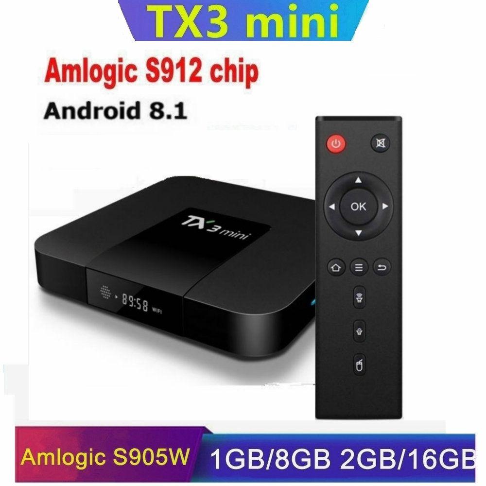 TX3 Mini Amlogic S912/S905W Android 8.1 Smart TV BOX 2GB 16GB WIFI 2.4G Caja de tv android H96 X96 Air