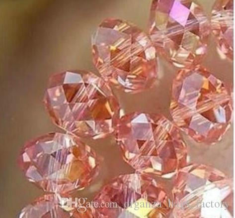 100pcs / lot esferas 6 milímetros pêssego rosa de cristal facetado AB rondelle espaçador Jóias fazendo DIY