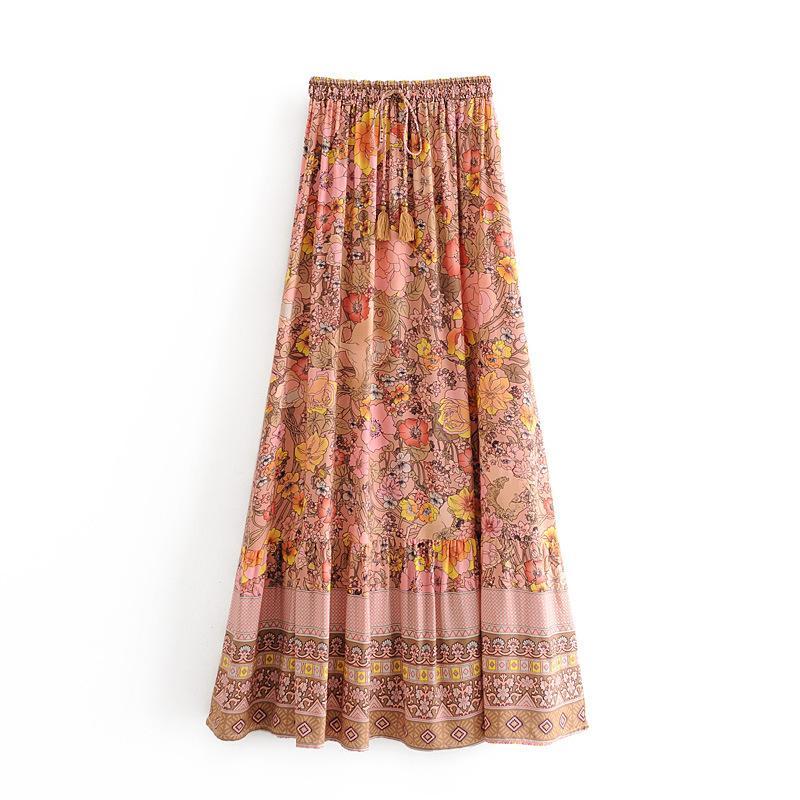 Rayon Cotton Maxi Skirts Women High Waist Floral Print Bohemian Beach Skirts 2020 New Spring Summer Holiday Seaside Boho Casual Long Skirts