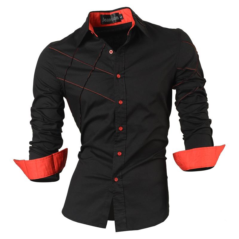 2018 Casual Shirts Dress Male Mens Clothing Long Sleeve Social Slim Fit Brand Boutique Cotton Western Button White Black T 2028