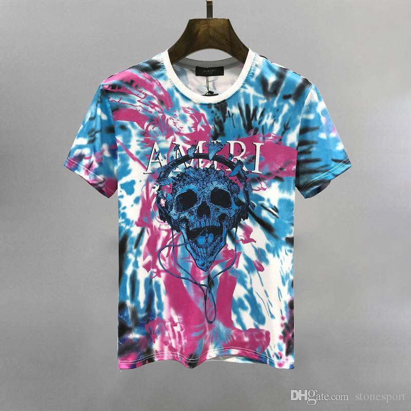 Camisas T-shirt de Slim 2020 Nova High Street Arimi Colorful Tie-Dye Imprimir algodão de manga curta de homens e mulheres da M-XXXL