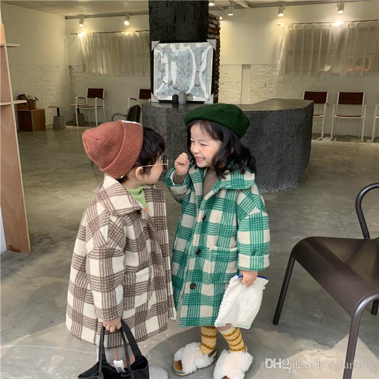 Kinder Mädchen Wintermantel Clothig Kinder Warm verdicken aufgefüllte Jacke Baby-Plaid-Mode lange Mantel-Oberbekleidung Baby-Tuch