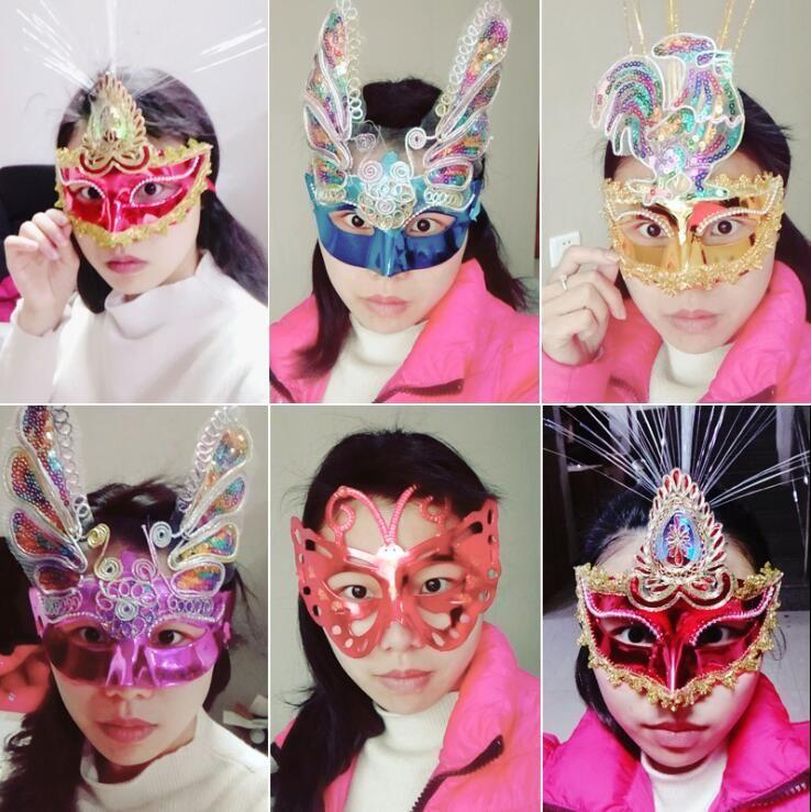 Girls Venetian LED Fiber Mask Masquerade Fancy Dress Party Princess Feather Mask