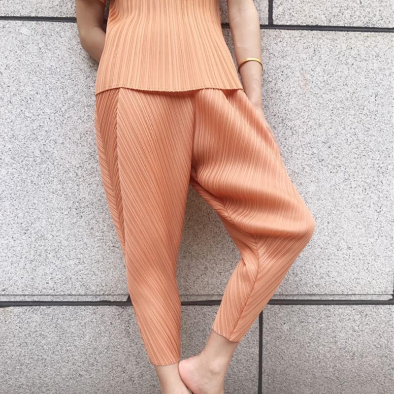 LANMREM 2020 neue Frühlingsmode Frauen Kleider Weinlese faltet die hohe Taille knöchellangen Hosen weibliche Hose WH81115 Y200418
