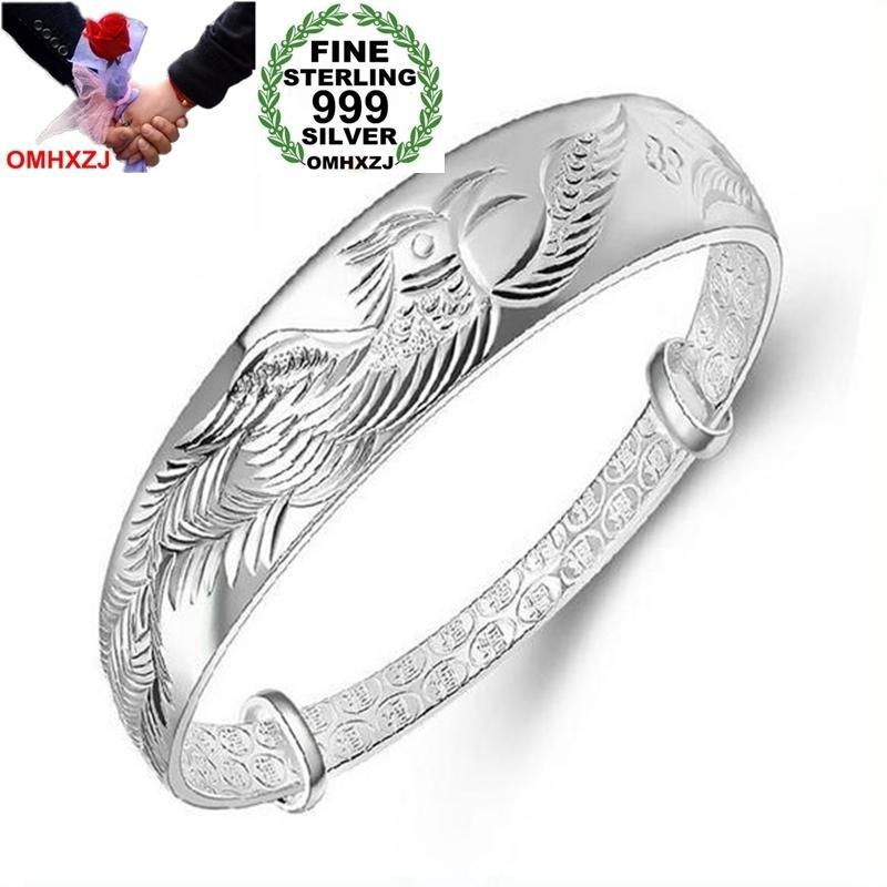 OMHXZJ Wholesale Ethnic Fashion Elegant Woman Child Gift Phoenix Push Pull 999 Sterling Silver Bracelet Bangle Adjustable SZ72