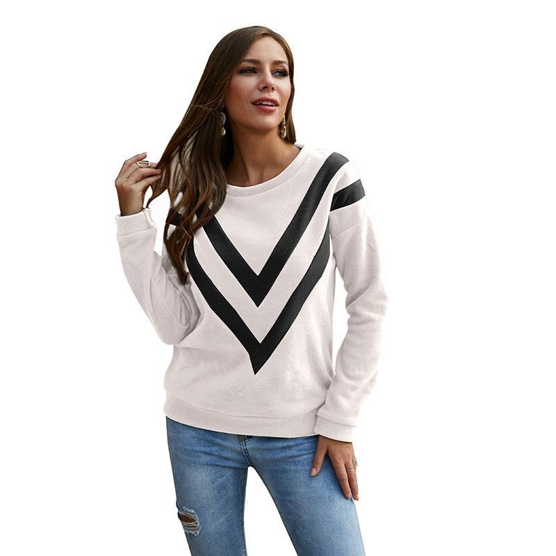 2019 Winter-Frauen des europäische und amerikanische grenzüberschreitende Versorgung mit neuem Herbst Rundhals Pullover mit V-Spleißen