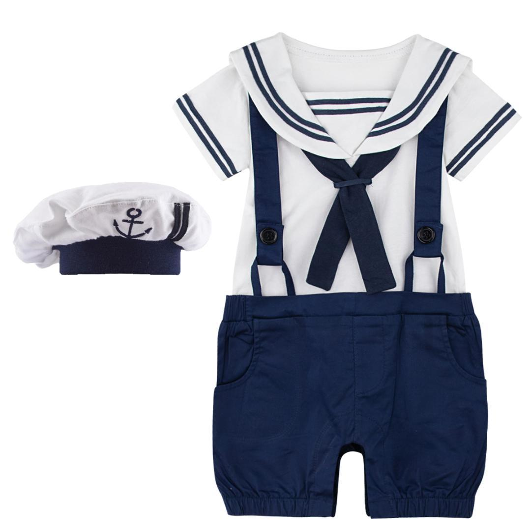 Baby Boys Romper Costume Toddler Sailor Navy Jumpsuit Bebe Suspender Onesie Outfit with Hat Infant Halloween Short Clothes