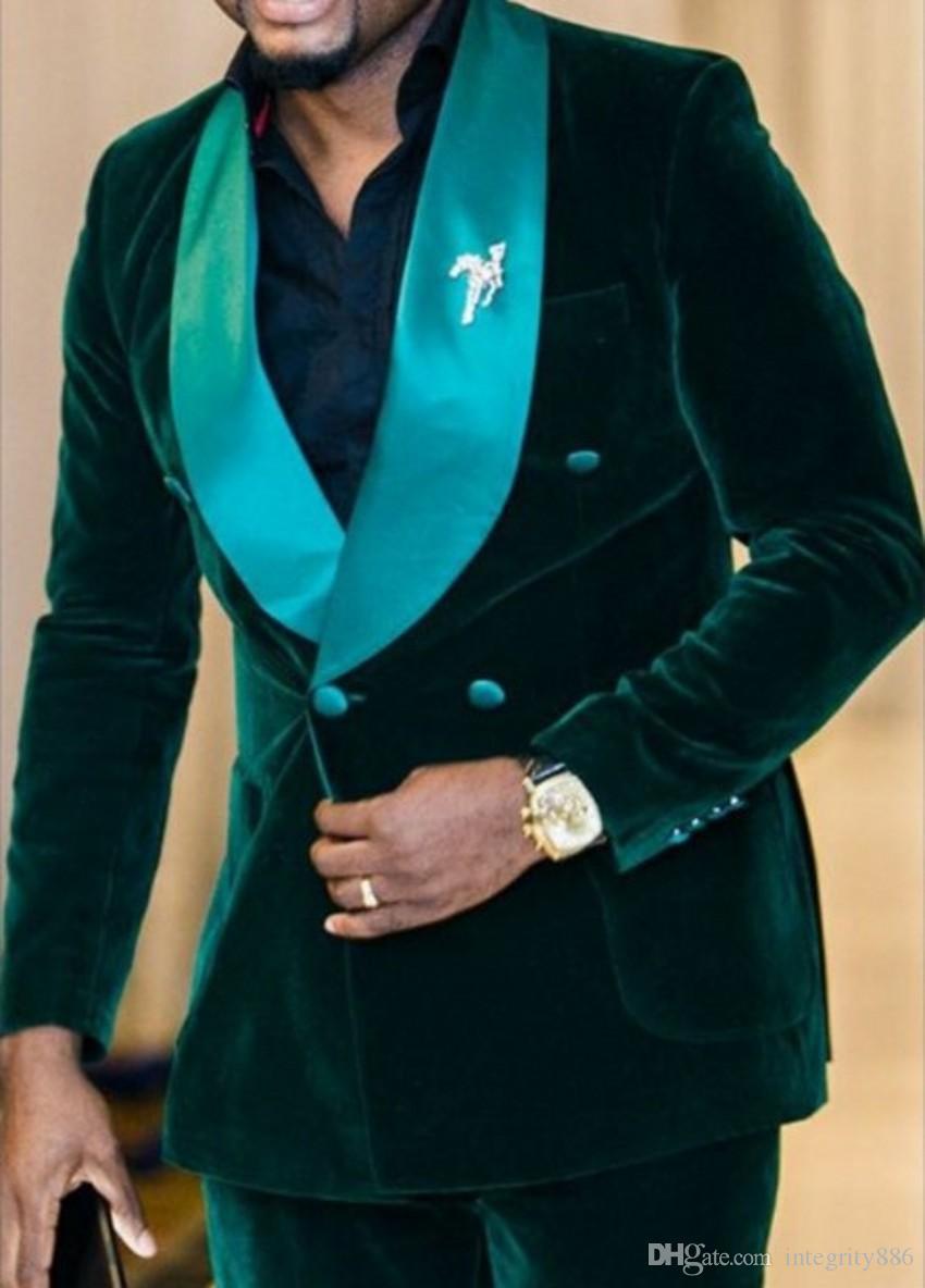 Green Velvet Groom Tuxedos Double-Breasted Groomsmen Wedding Dress Autumn Winter Style Men Formal Party Prom Suit(Jacket+Pants+Tie) 808