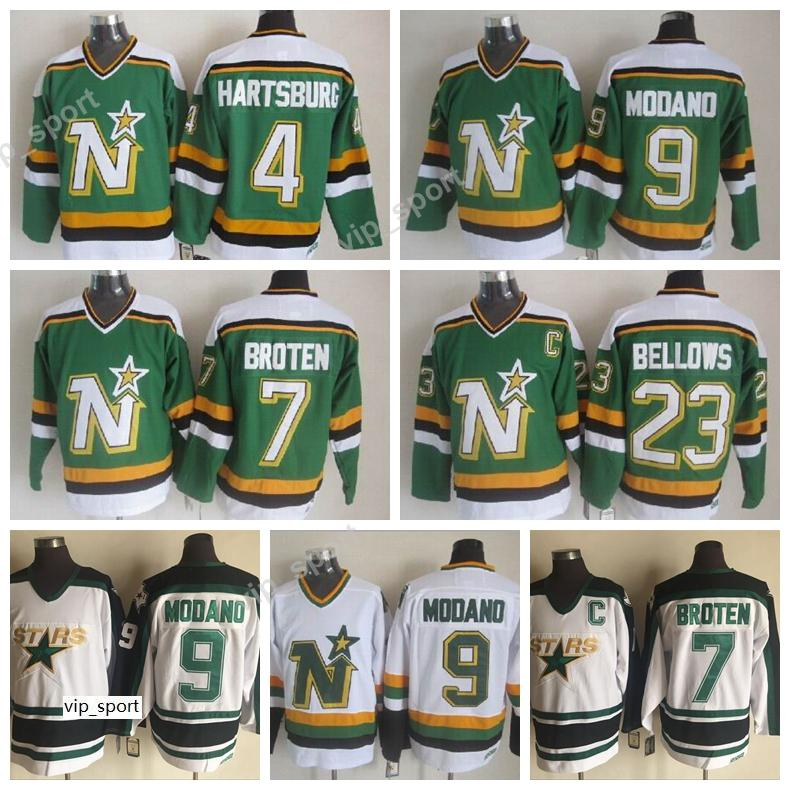 7 Neal Broten Jersey Green White Dallas Stars Vintage Jerseys Brian Bellows 4 Craig Hartsburg 9 Mike Modano Sport All Stitched