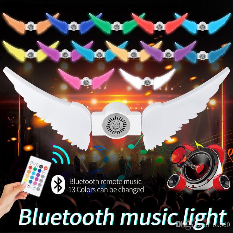 50W RGBW dobrável asa do anjo LED E27 lâmpada sem fio Lâmpada home da iluminação Bluetooth 4.0 inteligente IR Remote Music Player Regulável lâmpada