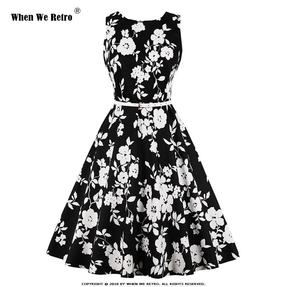 Новое прибытие лета женщин черное платье без рукавов VD1428 Sexy Качели Vintage платье мундир плюс размер цветочные платья