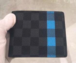Frauen Portemonnaie Damen 2019 Brieftasche mit Staubbeutel-Münzenbeutel kann die Karte dhm1998 N60086 Brieftasche grau kariert Die neuen eingefügt