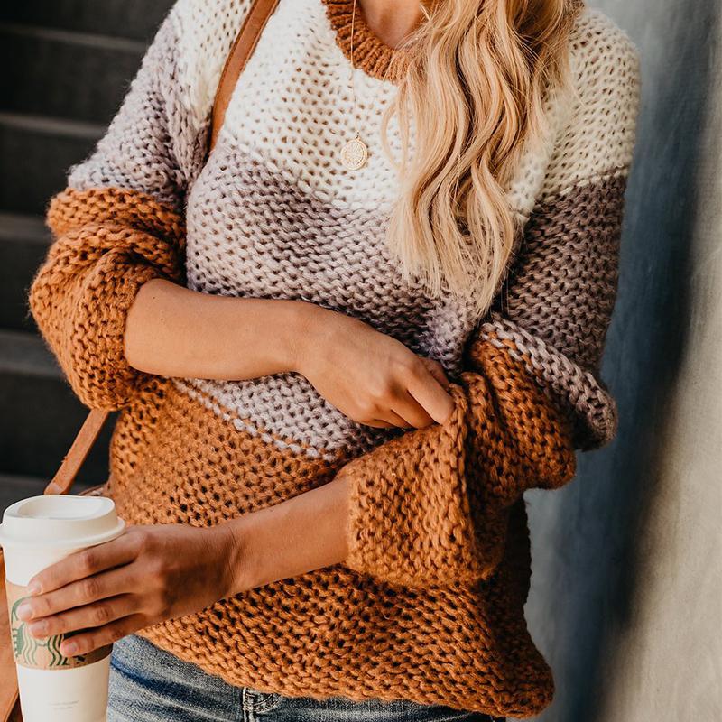 Outono Inverno Fluffy Mohair camisola de malha Mulheres manga comprida Patchwork Womens camisolas pulôver listrado Oversized camisola T200101