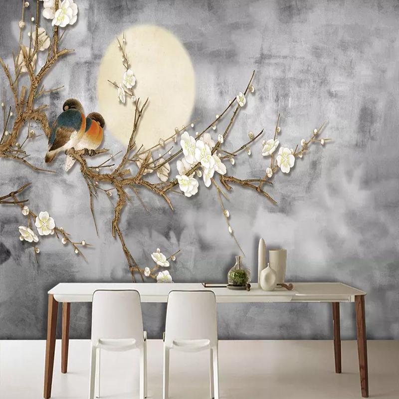 사진 벽지 3D 중국 작풍 꽃과 새 벽 회화 거실 텔레비젼 소파 침실 배경 벽화 가정 장식