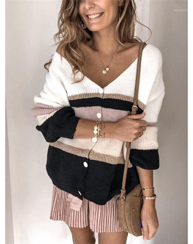 Las mujeres suéteres de cuello V color del contraste del Cardigan para mujer tops casuales de manga larga para mujer de la ropa de rayas Impreso diseñador