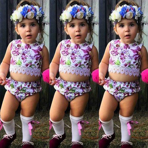 2018 nuevo verano para bebés recién nacidos floral púrpura juego de ropa de los niños niñas traje de ropa camiseta tops + pantalones cortos Set sunsuit