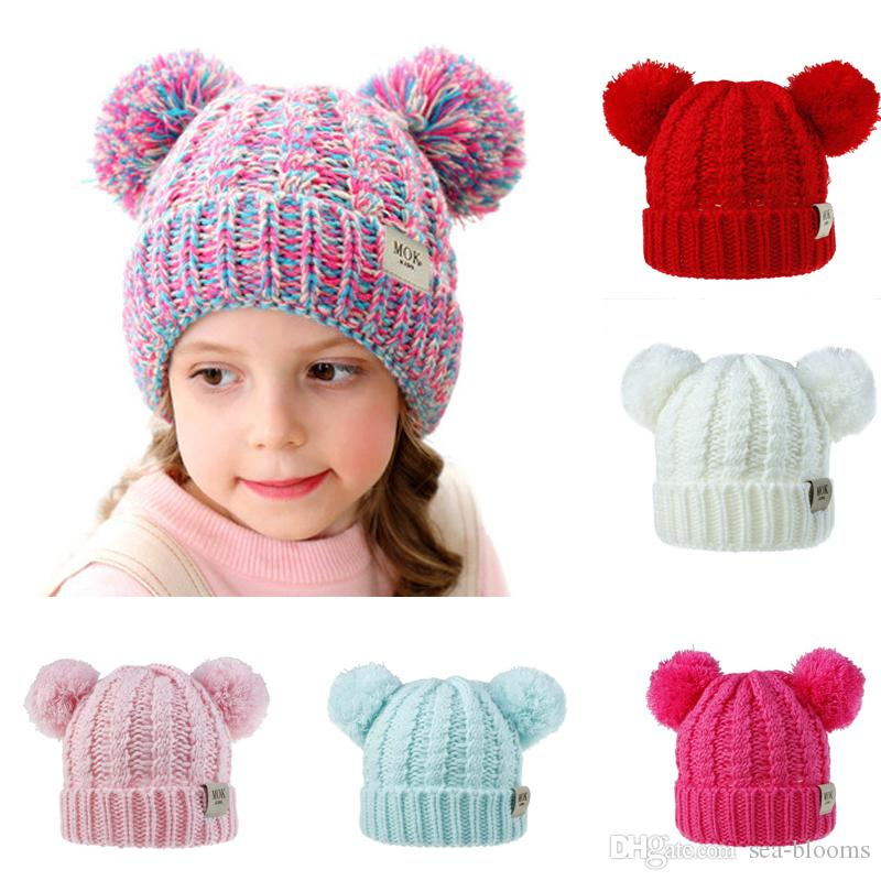 Free DHL Children Wool Knit Hat Beanies 2019 Autumn Winter Cute Twist Casual Double Hair Balls Hat For Boys Girls Xmas Gift M221Y