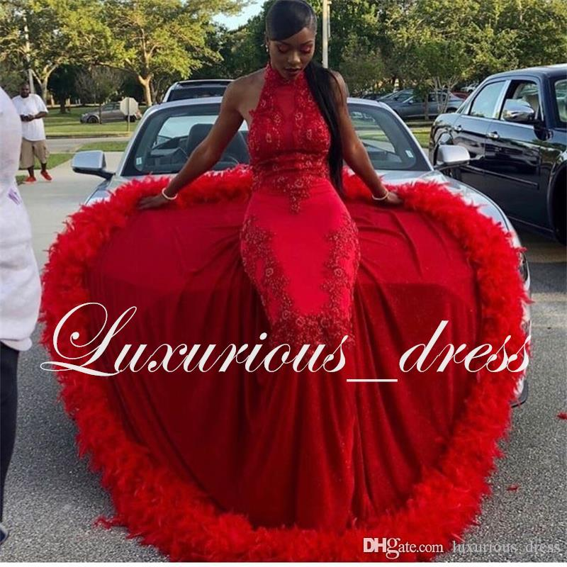 Sexy Red Long Mermaid Prom Dresses New Sleeveless Long High Neck Lace Applique Beading Feather Formal Evening Dress Part Gowns