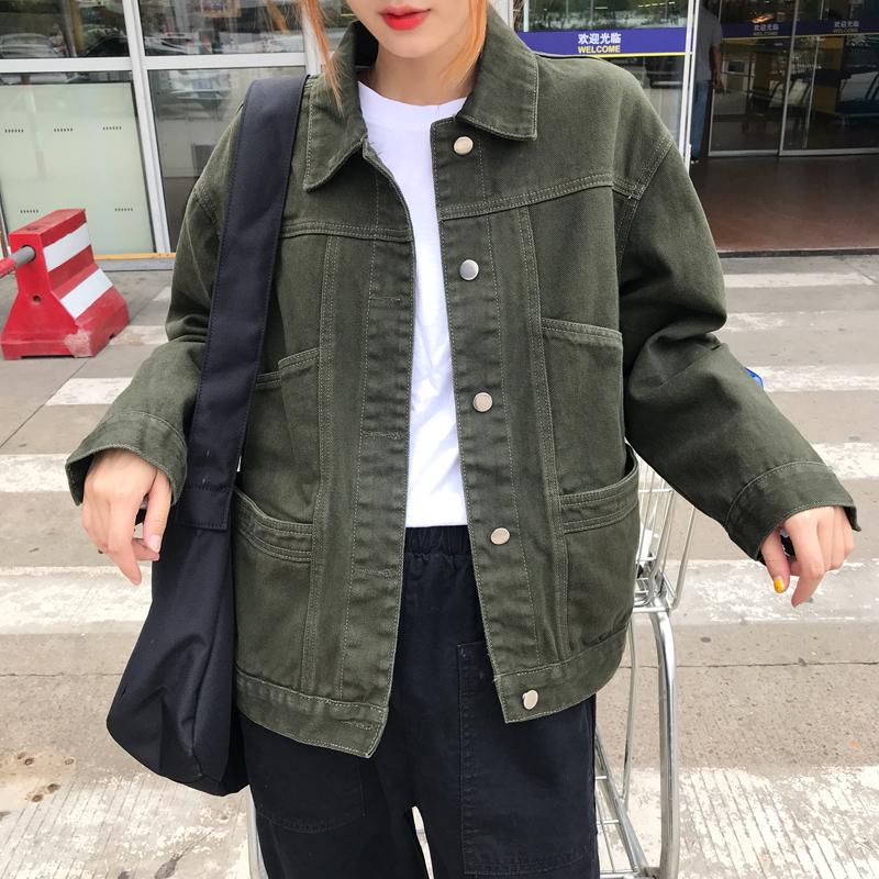 Coreano Armygreen Giacche Denim Donne Autunno Inverno Single Breasted Black Jean Giacca Ladies Denim Cappotto Cazadora Vaquera Mujer CY200515