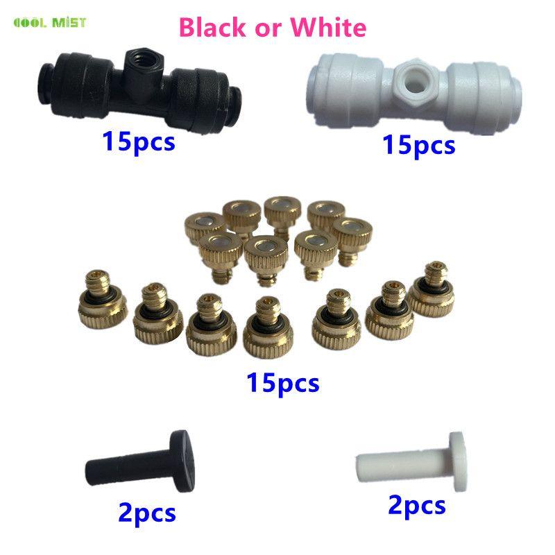 S167 15 Sets 1/4 pouces Tube OD Slip en plastique Lock (Quick Connect) Jardin Fogging brumisation avec laiton T-shirts Nozzles Pulvérisateur (0,1-0,6)