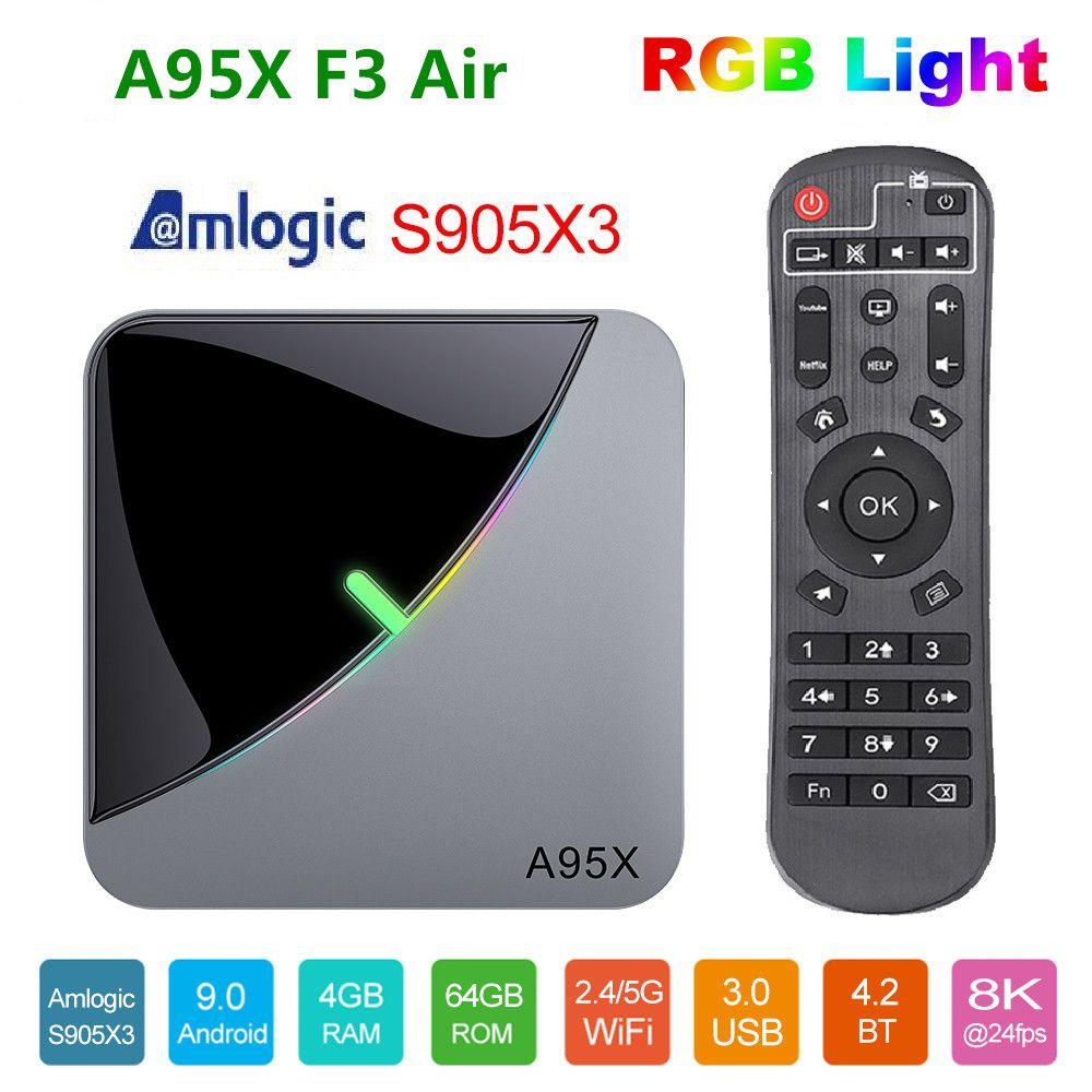 New A95X F3 Air RGB Light TV Box Amlogic S905X3 Android 9.0 4GB 32GB Dual Wifi A95xf3 X3 Smart TV Box