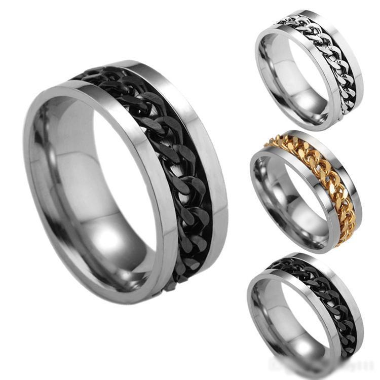 Joyería de plata de oro tono azul Negro de acero inoxidable de la moda de la cadena spinner hombres de los anillos de alto grado