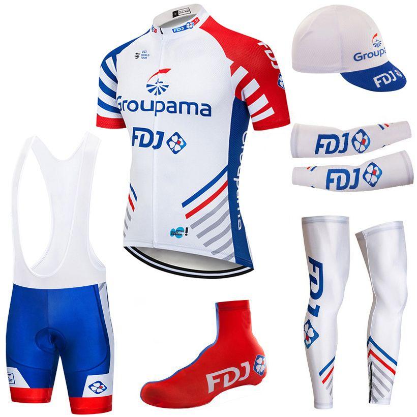 사이클링 저지 다리 따뜻한 턱받이 반바지 키트 armwarmer 2020 프로 팀 FDJ 사이클링 의류 로파 Ciclismo 여름 통기성 MTB 자전거 저지를 설정