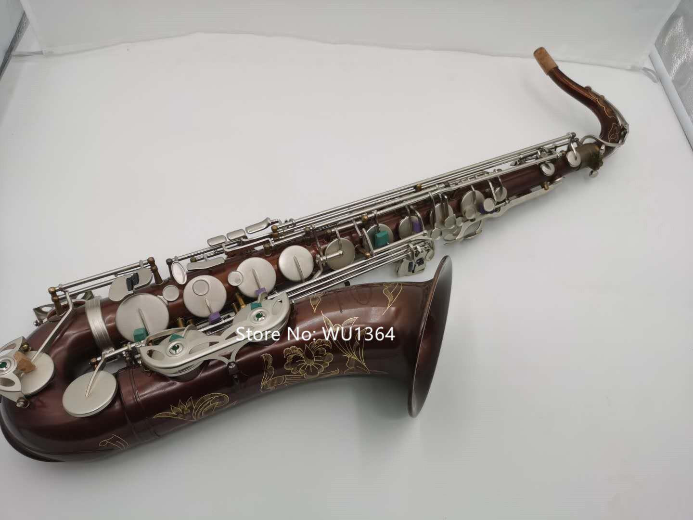 Profesyonel Marka Tenor Saksafon BB Antika Bakır Düz Şerit Tuşları Aksesuarları Ile Müzikal Enstrüman Ücretsiz Kargo