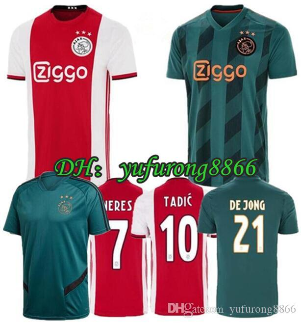 2019 2020 AJAX Soccer Jersey # 7 NERES DE JONG Accueil extérieur ajax 19 20 # 10 TADIC # 4 DE Ligt # 22 ZIYECH hommes uniformes de football