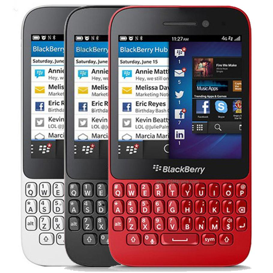 Refurbished Original Blackberry Q5 3.1 inch Dual Core 2GB RAM 8GB ROM 5.0MP Camera QWERTY Keyboard Unlocked 4G LTE Smart Mobile Phone 5pcs