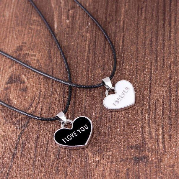 """""""Te Amo Para Siempre"""" Pareja Negro y negro gota 1 Set Collar del amor Aceite Colgante creativo collar caliente al por mayor"""