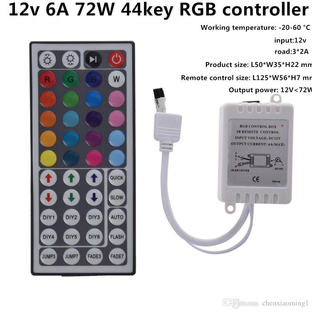 Led 컨트롤러 44 키 IR RGB 컨트롤러 LED 조명 컨트롤러 IR 원격 조광기 DC12V 6A RGB 3528 5050 LED 스트립 용