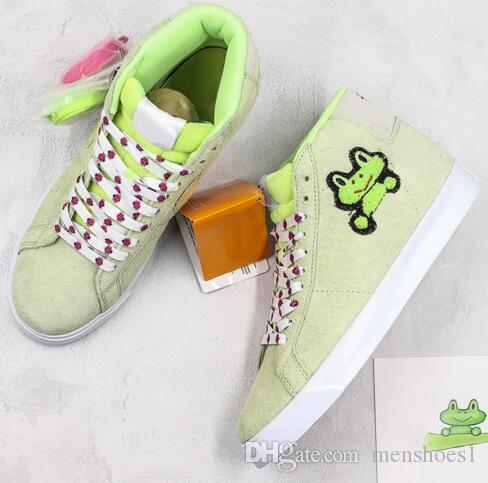 Нового SB ZOOM BLAZER MID QS Зеленый кроссовки высокого качество Мужчина женщины Frog Prince Скейт обувь Дешевая Продажа Спорт тапок 36-44