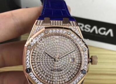 Relógios Mecânicos de luxo Para Os Homens de Alta Qualidade 15452 Relógio Automático Mens 41mm Royal Oaks Completa Diamante relógios de Pulso