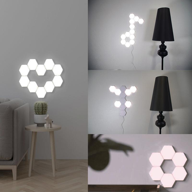 الكم مصباح سداسي مصابيح حدات اللمس الحساسة الإضاءة LED ليلة الخفيفة المغناطيسي السداسيات الإبداعية الديكور جدار لامبارا
