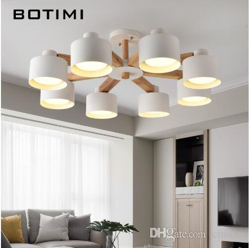 노르딕 LED 샹들리에와 거실 220V에 대 한 철 전등 갓 현대 목조 Lustres 우드 휴게소 샹들리에 조명