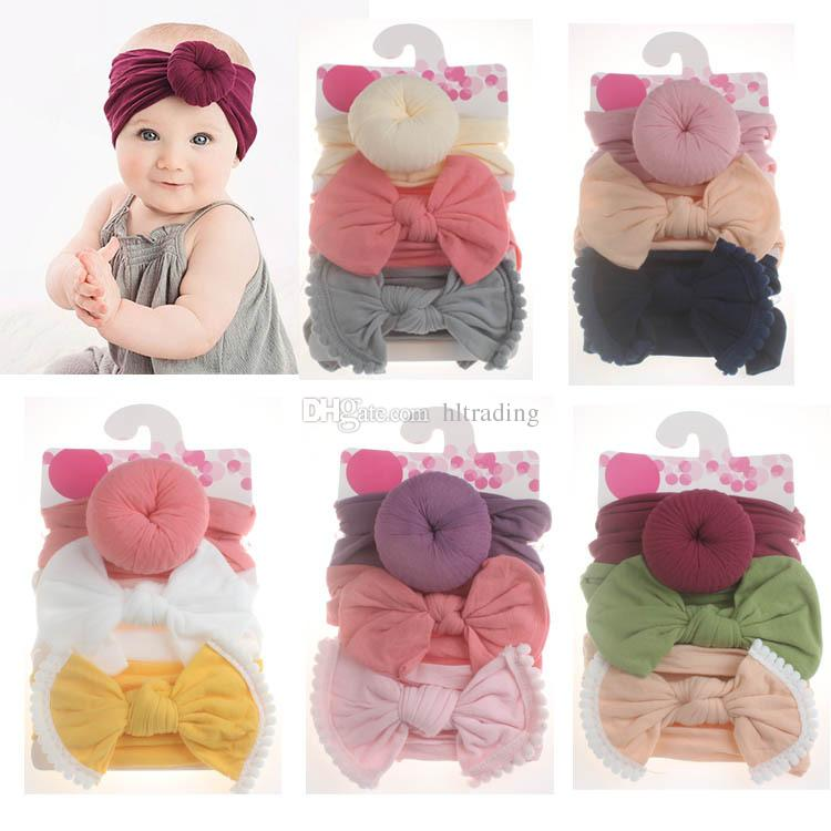 Baby Girls Knot Ball Donut Headbands Bow Turban 3pcs/set Infant Elastic Hairbands Children Knot Headwear kids Hair Accessories C5762