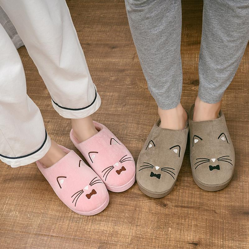 Women's Slippers Cute Cat Shape Home Floor Shoes Mens Couples Warm Cartoon Cat Non-slip Floor Home Slippers Indoor Shoes