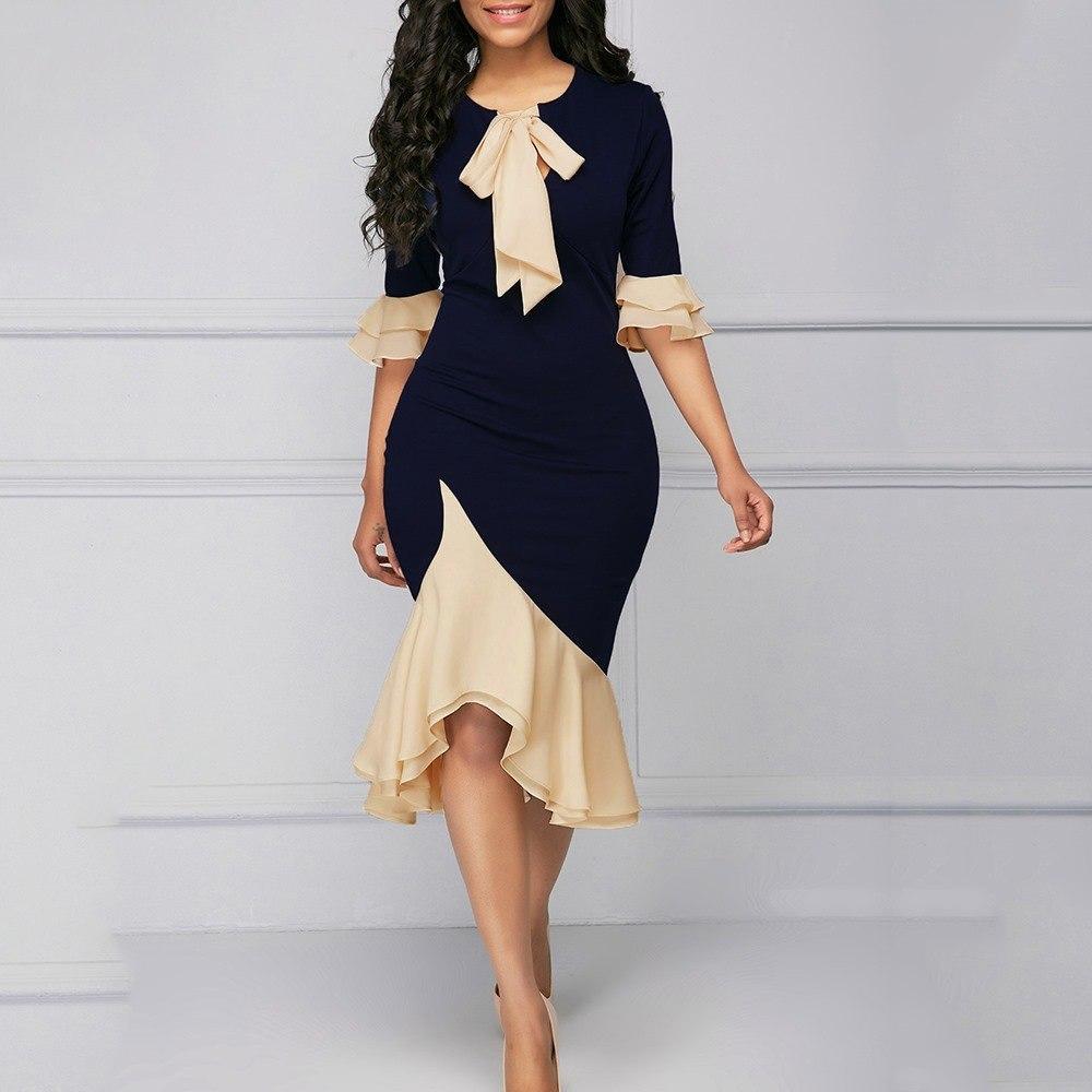 2019 collar de la vendimia del verano de señora elegante de la oficina de las mujeres vestidos de sirena de la llamarada de la manga del arco asimétrico de Falbala niñas femenino atractivo vestido Y200102